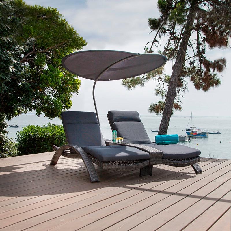 lit double venezia ch ssis aluminium epoxy habillage r sine tress e plate gris oceo. Black Bedroom Furniture Sets. Home Design Ideas