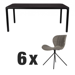Table STORM Noire 220x90 + 6 chaises OMG LL Grey