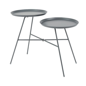Table basse INDY structure & plateau en acier coloris grey