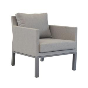 Fauteuil Sofa Bergen châssis alu TAUPE coussins assise toile polyester enduit perforé taupe mat