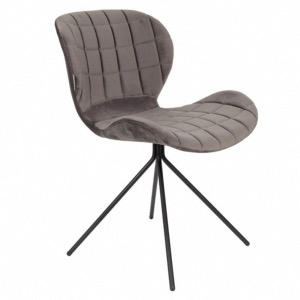 Chaise Velours OMG Gris Fonce