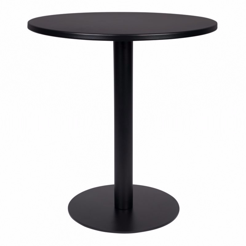 Table Bistro METSU - en acier laqué époxy NOIR - Ø 70 cm - ZUIVER