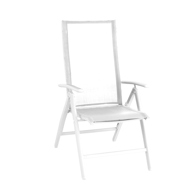 FAUTEUIL MULTIPOSITION YORK ALUMINIUM BLANC TOILE SLING SILVERBLACK ...