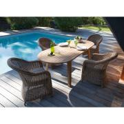 Table LOLA ovale 200/240 x100 cm 8/10pers Tectona Gransdis 100% FSC pieds V à monter