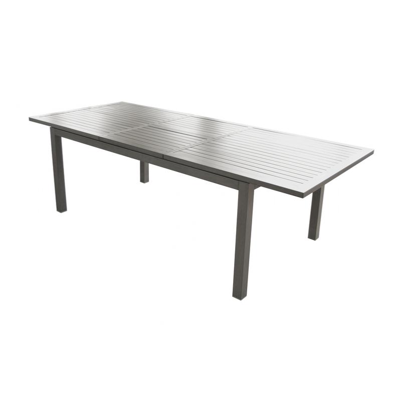 Table TRIESTE 180/240x102cm en aluminium epoxy coloris ICE allonge papillon  PROLOISIRS