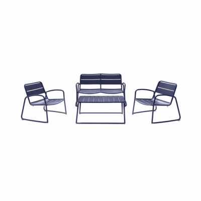Set BARI coloris BLEU - (1 canapé 2 places + 2 fauteuils + 1 table basse) - Garden Art