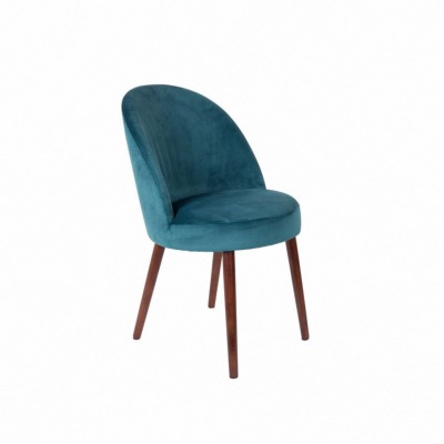 Chaise en velours bleu pétrole Barbara - Dutchbone