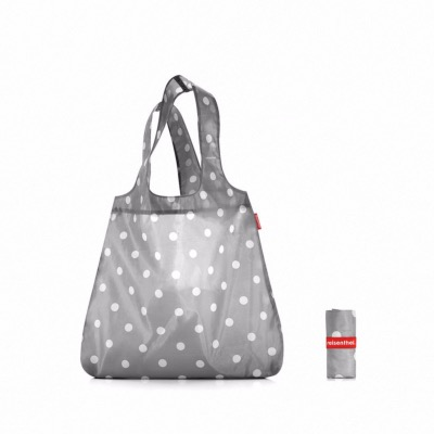 Mini Maxi shopper - Sac pliable gris pois blancs - Reisenthel