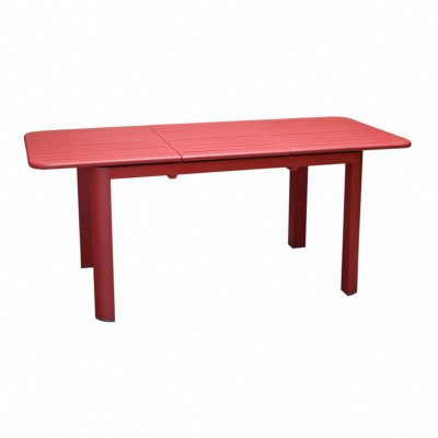 Table EOS 130/180X80 74cm hauteur en aluminium rouge allonge papillon