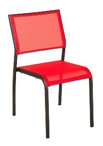 Chaise empilable TICAO gris/corail