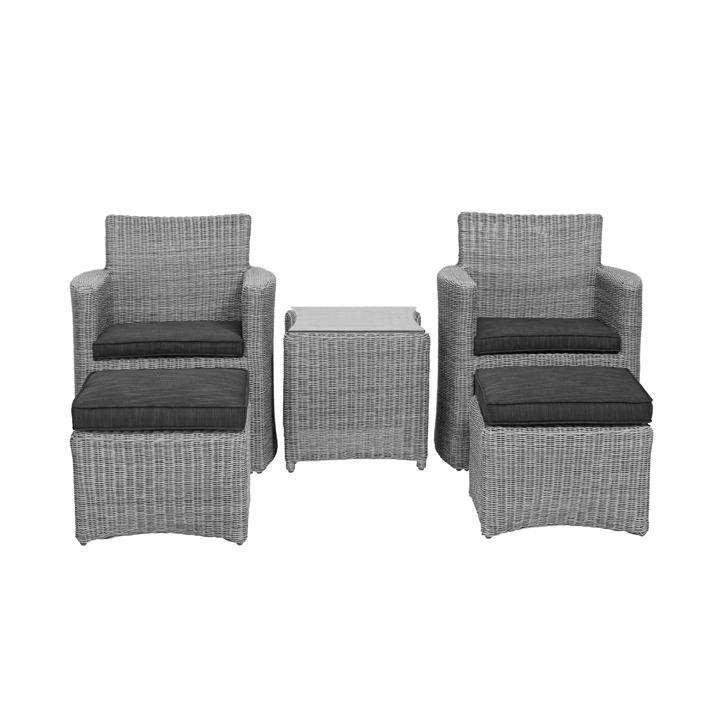 Set cupido 2 fauteuils 2 poufs 1 table basse resine for Fauteuil pour table basse