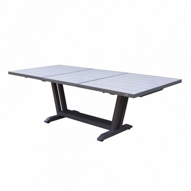 AMAKA - Table 170/230X90cm - pied gris - plateau HPL coloris céramique  grise - LES JARDINS