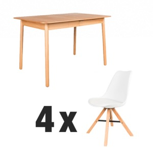 Table GLIMPS Naturelle 120/162x80 cm + 4 chaises Kell Blanches