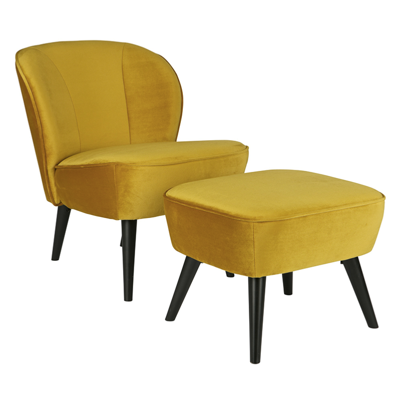 fauteuil sara pieds bois et tissus velours ocre jaune woood. Black Bedroom Furniture Sets. Home Design Ideas