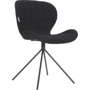 Chaise OMG tissu polyester coloris NOIR ZUIVER