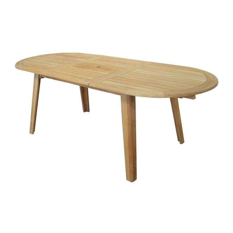 Table LOLA table ovale 6/8 pers Tectona Grandis 100% FSC pieds V à monter  dimensions 160/200 x 90 cm