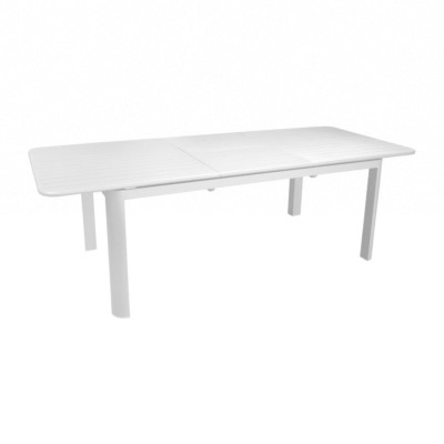 Table EOS 220/280X100 74cm en aluminium Blanc allonge papillon