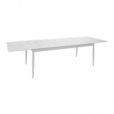 Table DUBLIN 200/300X100X74 cm châssis alu epoxy BLANC allonge papillon pieds à monter