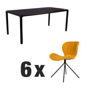 Table STORM Noire 180x90 + 6 chaises OMG LL Yellow