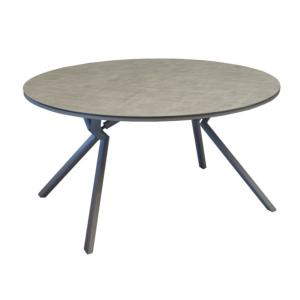 Table Loane Ronde 150 châssis alu époxy TAUPE Trespa HPL 8mm LUNA décor mat - OCEO