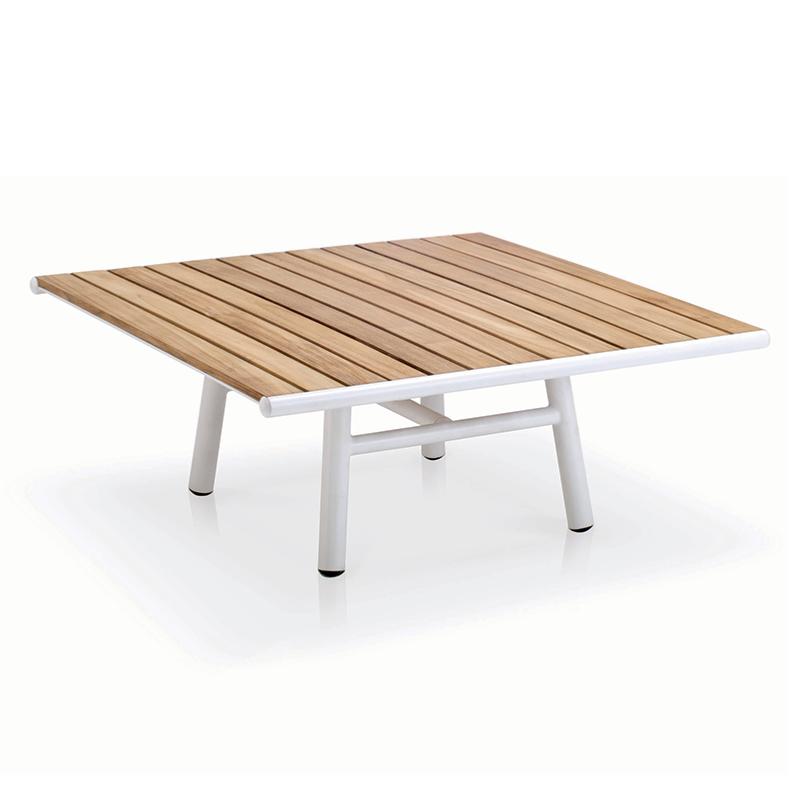 table basse pilotis 100x100x40cm cadre alu blanc et lattes teck naturel. Black Bedroom Furniture Sets. Home Design Ideas