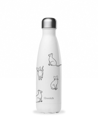 Bouteille isotheme collection PRETTY CATS coloris blanc, 500ml