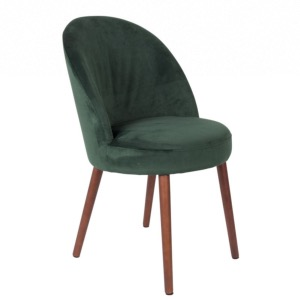 Chaise en velours vert Barbara - Dutchbone