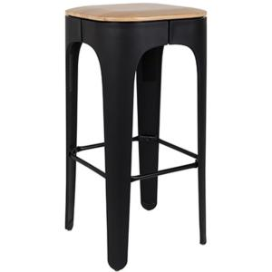 Tabouret de Bar UP WH chassis acier noir, assise bois naturel