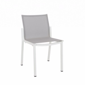 Chaise empilable AMAKA blanc/gris clair LES JARDINS