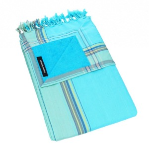 KIKOY : 2 EN 1 SERVIETTE + PAREO COLORIS Blue Lagoon