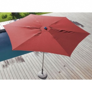 Parasol droit Easy Up Ø 330 cm plat ROUGE OCEO