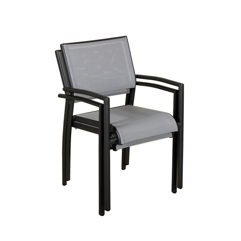 fauteuil empilable ticao aluminium gris toile pvc gris. Black Bedroom Furniture Sets. Home Design Ideas