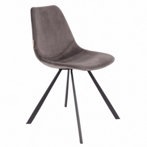 Chaise Franky en velours Gris - Dutchbone