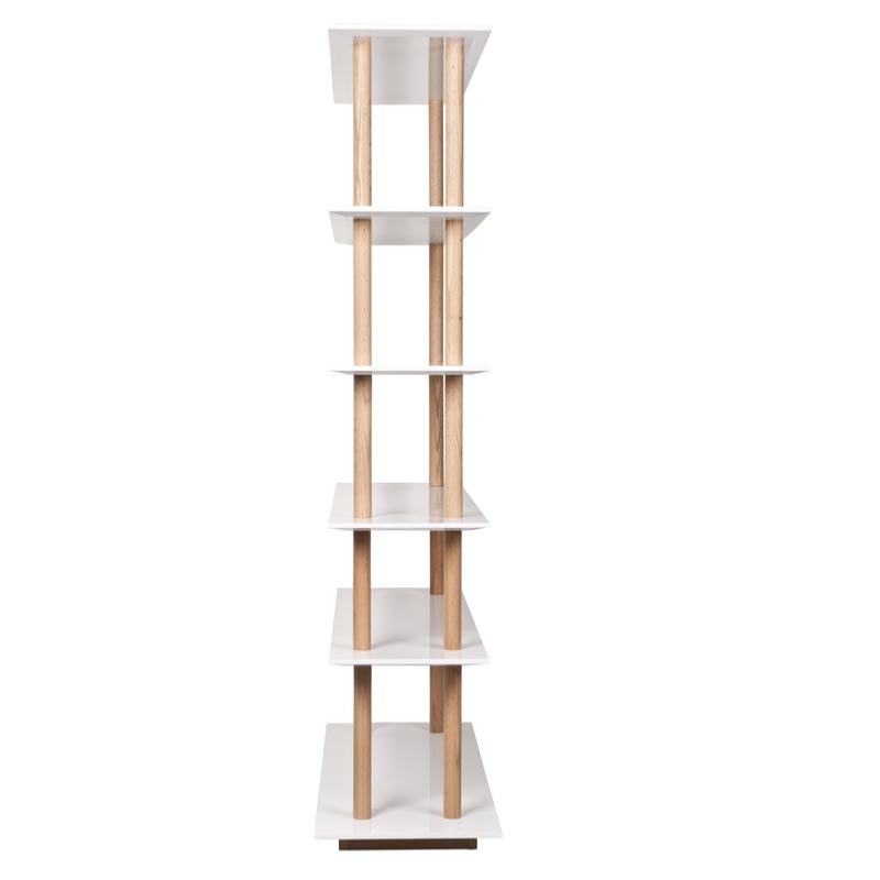 Bibliothèque design chêne et laque blanche HIGH ON WOOD Zuiver