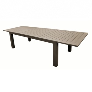 Table AURORE 214/311x110 plateau lattes alu BRUSH BRUN allonge papillon - OCEO