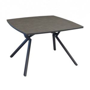 Table Loane 110 x110 châssis époxy GREY Trespa HPL ANTHRACITE 8mm décor mat - OCEO