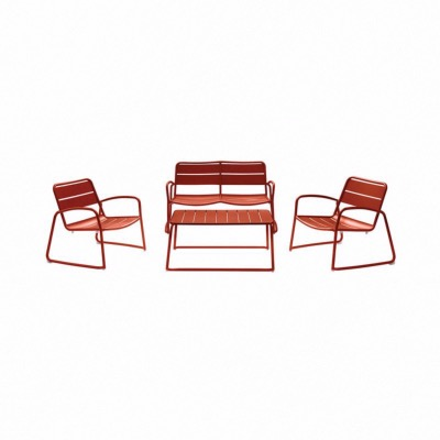 Set BARI coloris ORANGE - (1 canapé 2 places + 2 fauteuils + 1 table basse) - Garden Art