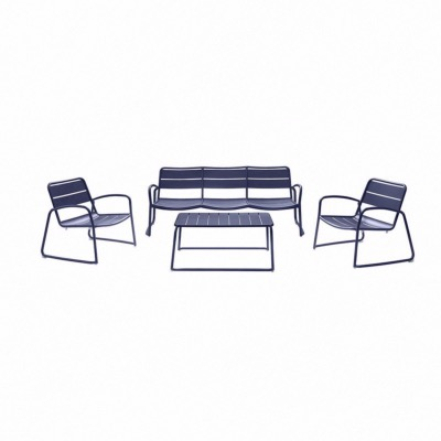 Set BARI coloris BLEU - (canapé 3 places + 2 fauteuils + 1 table basse) - Garden Art