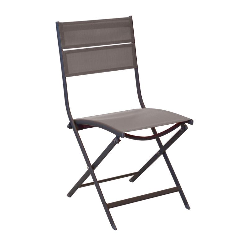 Chaise win ch ssis aluminium epoxy cafe toile textilene - Chaise pliante toile ...