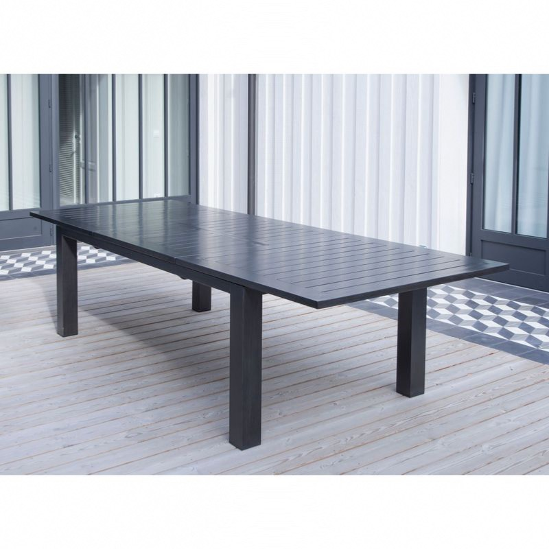 Table AURORE 214/311x110 plateau lattes alu ICE allonge papillon - OCEO