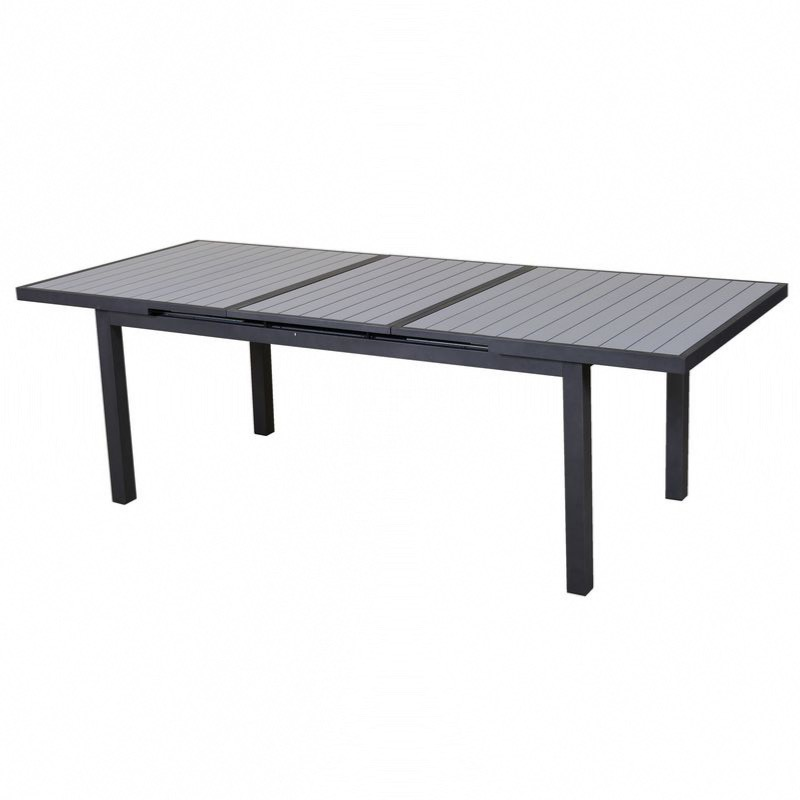 Table Lenny up 180/240X100cm en alu gris / gris clair, rallonge automatique