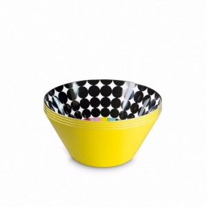 "Set de 4 Bols ""Scoop"" en melamine - 670 ml - Ø15 cm - H7 cm"