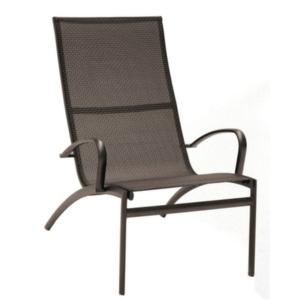 FAUTEUIL LOUNGE CAFE/TOILE 2 TONS (noir/taupe)