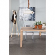 Table Storm naturel 220x90 + 6 Chaises Albert Kuip Gris clair