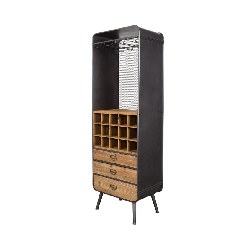 armoire bar vins m tal et bois vino de dutchbone. Black Bedroom Furniture Sets. Home Design Ideas