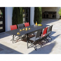 Table Dublin 200/250/300 cm, plateau Trespa®, graphite/stone black - Océo