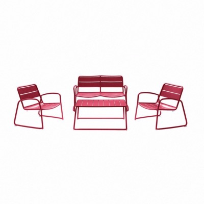 Set BARI coloris ROUGE - (1 canapé 2 places + 2 fauteuils + 1 table basse) - Garden Art