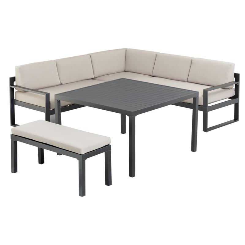 Set canapé d\'angle OCEAN en alu: 1 Canapé + 1 Banc+ 1 Table Haute 110X110  cm KETTLER
