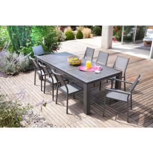 TABLE FIERO 180/240X103cm en aluminium coloris cérusé Ice gris ...