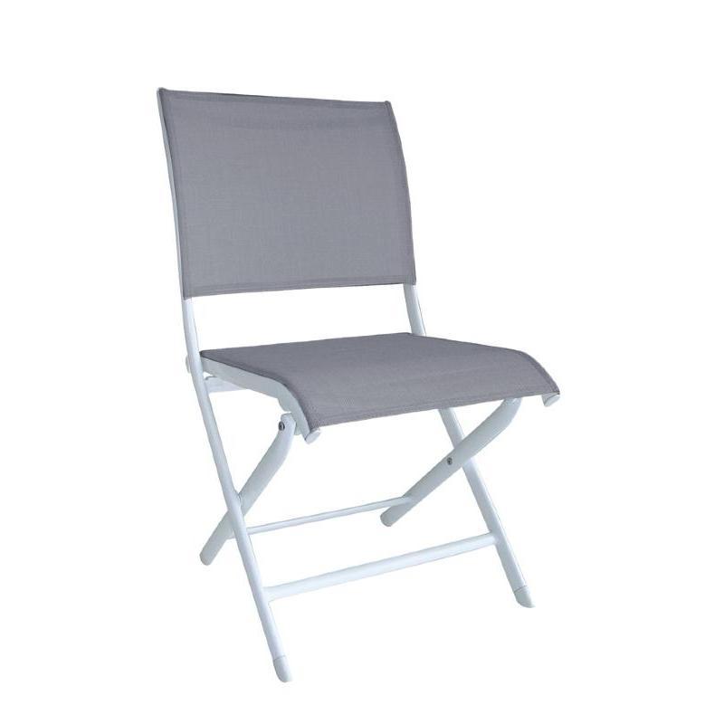 Chaise elegance pliante blanc argent - Chaise pliante toile ...